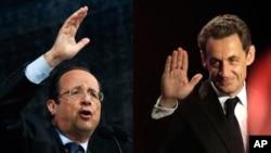 Ðương kim Tổng thống Nicolas Sarkozy và ứng cử viên đảng Xã hội Francois Hollande (trái)