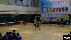 9일 서울 송파구 체육문화회관에서 탈북민들과 한국 주민들이 함께 하는 '2016 국민통일 한마당 축제' 체육대회가 열렸다.