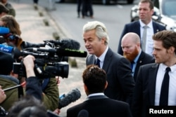 Dutch far right Party for Freedom (PVV) leader Geert Wilders speaks to the press during his campaign for the 2017 Dutch election in Amsterdam, Netherlands, March 5, 2017.