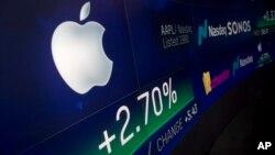 2018年8月2日紐約納斯達克市場網站上顯示蘋果股票。