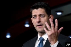 """House Speaker Paul Ryan, R-Wis. speaks during his weekly news conference on Capitol Hill, Sept. 6, 2018, in Washington. Ryan says whoever wrote an anonymous New York Times opinion column claiming officials in President Donald Trump's administration are preventing Trump from acting on his worst instincts is """"living in dishonesty"""" and shouldn't work for him."""