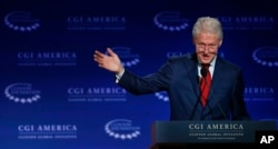 Clinton spoke at a gathering of the Clinton Global Initiative America, part of The Clinton Foundation, in 2015.
