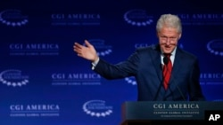 Former president Bill Clinton speaks at a gathering of the Clinton Global Initiative America, which is a part of The Clinton Foundation, in Denver, Colorado, June 10, 2015.