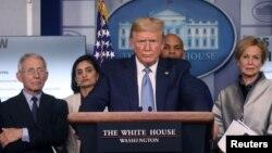 Президент США Дональд Трамп під час пресм-конференції у понеділок, 16 березня