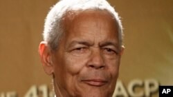 Former NAACP chairman Julian Bond poses backstage at the 41st NAACP Image Awards in Los Angeles, Feb. 26, 2010.