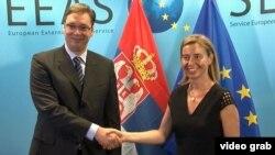 Premijer Srbije Aleksandar Vučić i visoka predstavnica EU za spoljnu politiku i bezbednost Federika Mogerini danas u Briselu