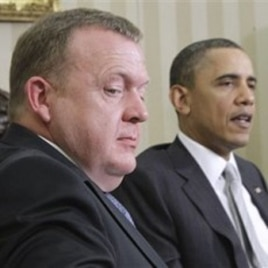 President Barack Obama meets with Danish PMr Lars Lokke Rasmussen at the White House, March 14, 2011