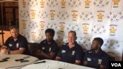 U Team Manager weSables, Jason Maritz, stand - in captain Biselele Tshamala, umqwqwtshi uBrendan Dawson loHilton Mudariki