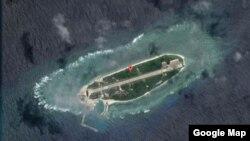 太平島俯瞰圖。