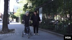 Ruth Levine, left, and Betsy Randolph outside Jefferson Market Garden in New York's Greenwich Village.