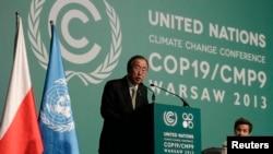 聯合國秘書長潘基文11月19日在參加聯合國氣候變化大會時發言。