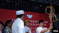 Capres Prabowo Subianto meresmikan tim pemenangannya di Solo, Kamis 29 Mei 2019 (Foto: VOA/Yudha)