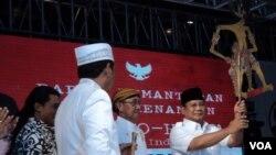 Capres Prabowo saat meresmikan tim pemenangannya di Solo, Kamis 29 Mei 2019 (Foto: VOA/Yudha)