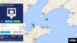 전 세계 선박들의 실시간 위치를 보여주는 '마린 트래픽' 웹사이트에 최근 위치가 드러난 북한 선박들. 1번은 '려명호' 2번은 '동흥1호', 3번은 '라남2호'.