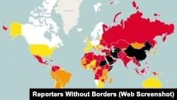 '국경없는 기자회'가 발표한 2015년 언론자유 지수를 표시한 지도.