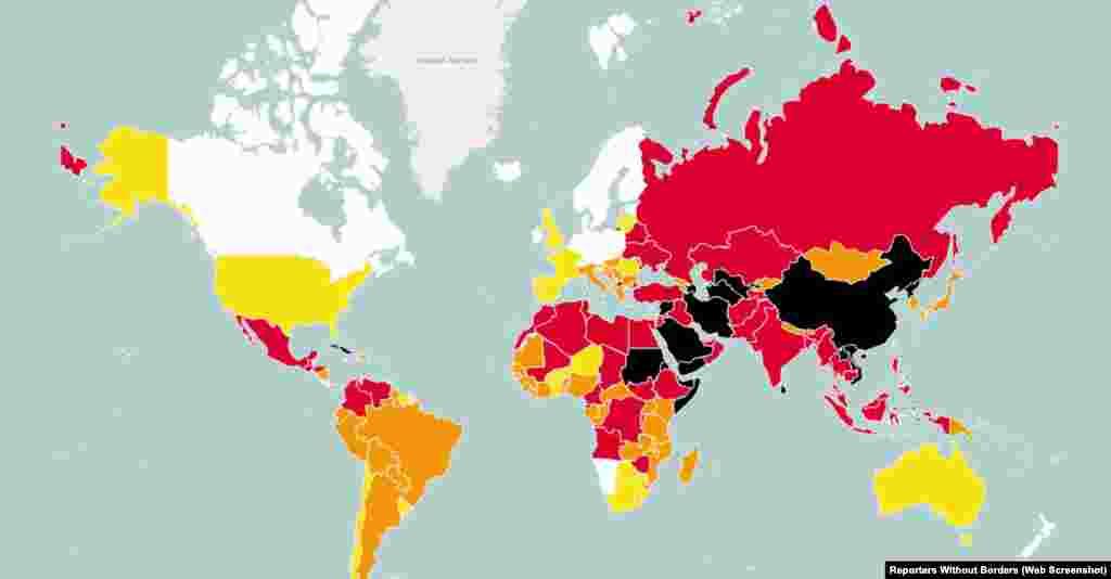 Índice de Liberdade de imprensa em 2015, dos Repórteres sem fronteiras.