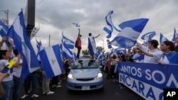 Personas protestan contra el gobierno del presidente de Nicaragua, Daniel Ortega, en Managua. Mayo 15 de 2018.