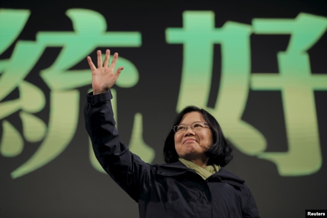 FILE - Democratic Progressive Party (DPP) Chairperson and presidential candidate Tsai Ing-wen waves to her supporters after her election victory at party headquarters in Taipei, Taiwan, Jan. 16, 2016.