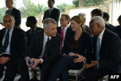 FILE - U.S. ambassador to the United Nations Samantha Power, second right, speaks with other U.N. Security Council ambassadors during a meeting with the Burundian president at his residence outside Bujumbura, Jan. 22, 2016.