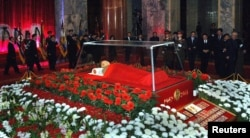 FILE - The body of North Korean leader Kim Jong-il lies in state at the Kumsusan Memorial Palace in Pyongyang in this picture released by the North's official KCNA news agency early Dec. 21, 2011.