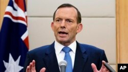 FILE - Australian Prime Minister Tony Abbott speaks during a press conference.