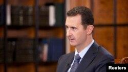 Tổng thống Syria Bashar al-Assad trong cuộc phỏng vấn với đài truyền hình CCTV của Trung Quốc tại Damascus, ngày 23/9/2013.