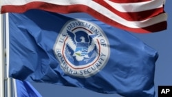 FILE - The Department of Homeland Security flag.