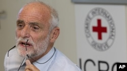 Swiss Jakob Kellenberger, President of the International Committee of the Red Cross, talks to the media about his visit to Syria, during a press conference at the ICRC headquarters in Geneva, Switzerland, September 6, 2011.