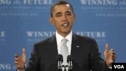 Presiden Amerika Barack Obama menyampaikan pidatonya, Selasa (15/3).