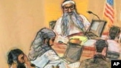 A courtroom sketch of terror suspects facing U.S. charges.