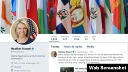 """美国国务院发言人希瑟·诺尔特在推特上声援李文足,并呼吁中国释放她的丈夫王全璋和所有在""""709""""镇压期间被捕的人士。"""