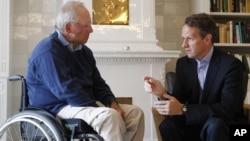 El ministro de Finanzas alemán, Wolfgang Schaeuble, y el secretario del Tesoro de EE.UU., Timothy Geithner.