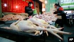Gian hàng bán gà tại một khu chợ ở Thượng Hải. Cúm gà thường lây từ gà bị nhiễm bệnh sang người tiếp xúc trực tiếp với gia cầm