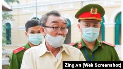 """Nguyễn Khanh, người bị kết án đứng đầu tổ chức các vụ """"khủng bố chống chính quyền nhân dân"""" bị Toà án Nhân dân TPHCM tuyên 24 năm tù hôm 22/9."""