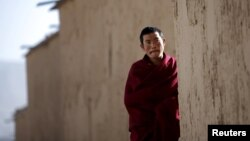 A Tibetan monk pictured at Labrang monastery in Xiahe county, Gansu Province, China, February 21, 2012.