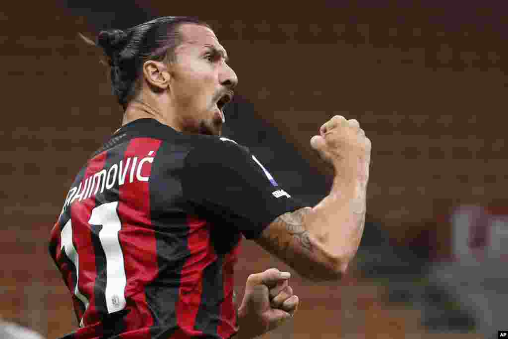 "Zlatan Ibrahimovic, AC Milan - Striker AC Milan striker Zlatan Ibrahimovic tested positive for the coronavirus in September saying, ""COVID had the courage to challenge me. Bad idea."". He recovered from the infection in time to play against Inter Milan in the Derby della Madonnina on Oct. 17. Photo: AC Milan's Zlatan Ibrahimovic celebrates his goal against Bologna during the Serie A soccer match between AC Milan and Bologna at the San Siro stadium, in Milan, Italy, Monday, Sept. 21, 2020. (AP Photo/Antonio Calanni)"