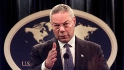 FILE -Then-Secretary of State Colin Powell speaks during a news conference at the State Department in Washington, Sept. 17, 2001.