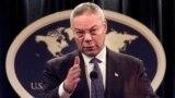 រូបឯកសារ៖ លោក Colin Powell នៅពេលដែលលោក ជារដ្ឋមន្ត្រីការបរទេសសហរដ្ឋអាមេរិក ថ្លែងក្នុងសន្និសីទសារព័ត៌មានមួយនៅឯក្រសួងការបរទេស ក្នុងរដ្ឋធានីវ៉ាស៊ីនតោន កាលពីថ្ងៃទី១៧ ខែកញ្ញា ឆ្នាំ២០០១។