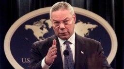 Colin Powell s'exprime lors d'une conférence de presse au Département d'Etat à Washington, le 17 septembre 2001.