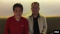 祝圣武(右)近期与上海维权人士冯正虎见面