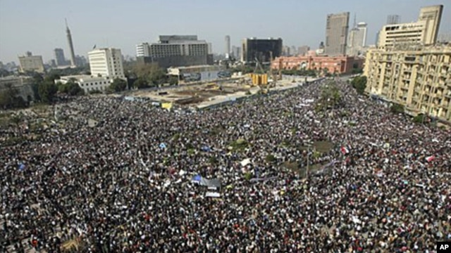 Protesters in Tahrir, or Liberation, Square in Cairo, Egypt, February 1, 2011