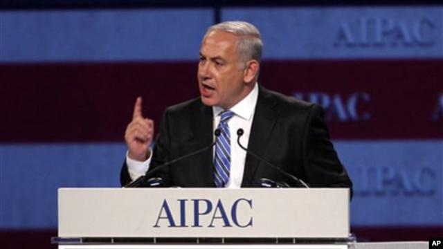 Israel Prime Minister Benjamin Netanyahu speaks at the American Israel Public Affairs Committee meeting in Washington, May 23, 2011