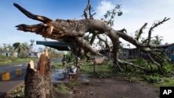 Dua orang anak laki-laki berteduh di bawah halte bus yang menopang pohon tumbang akibat hantaman topan Winston di desa Talecake, Fiji (24/2).