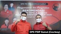 Bakal calon Wali Kota Medan, Bobby Afif Nasution dan bakal calon Wakil Wali Kota Meda, Aulia Rahman yang diusung PDIP dalam kontestasi Pilkada Medan 2020, Selasa, 11 Agustus 2020. (Foto: Courtesy/DPD PDIP Sumut)
