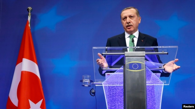 Turkey's Prime Minister Tayyip Erdogan at a news conference in Brussels Jan. 21, 2014.