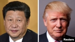 美國總統川普(右)中國國家主席習近平(左)