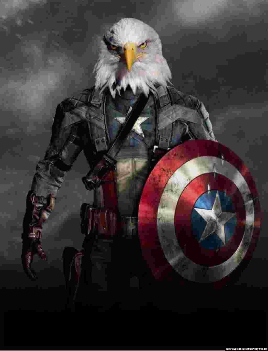 """Тім Говард в образі """"Капітана Америка"""" з головою символа США орлана білоголового (""""лисого орла"""")."""