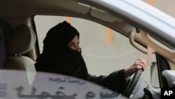 SauFILE - Aziza Yousef drives a car on a highway in Riyadh, Saudi Arabia, March 29, 2014, as part of a campaign to defy Saudi Arabia's ban on women driving. Carmakers hoping to sell more cars in Saudi Arabia are applauding the king's order to draw up new