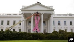 A pink ribbon to recognize breast cancer awareness is being hung on the north portico of the White House in Washington (File Photo)