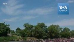 Des migrants traversent une rivière pour rejoindre le Mexique